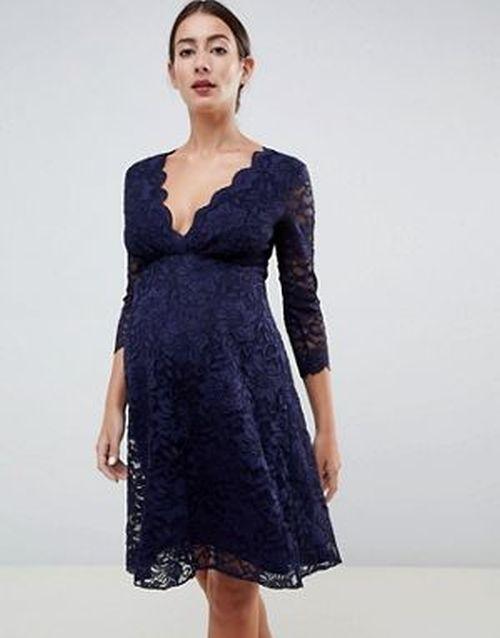 ropa-premama-vestido-asos-verano-midi-manga-trescuartos-navy-flounce-london-maternity
