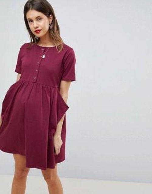 ropa-premama-vestido-asos-verano-minismock-burdeos-asos-design-maternity