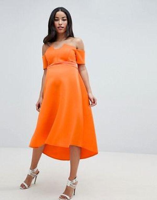 ropa-premama-vestido-asos-verano-neopreno-naranja-asos-design