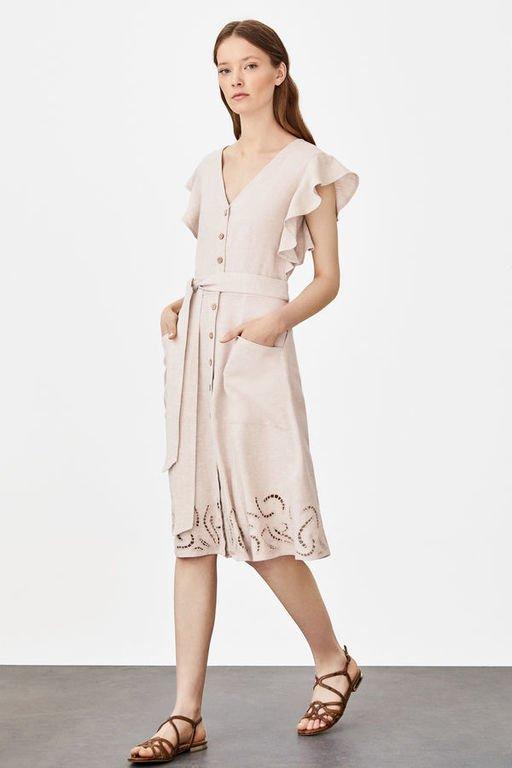 rebajas-cortefiel-vestido-lino-troquelado