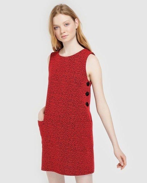 rebajas-el-corte-ingles-vestido-leopardo-con-botones-rojo-formula-joven-elcorteingles