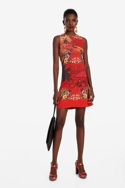rebajas-desigual-vestido-corto-rojo-slim-tropical-anna
