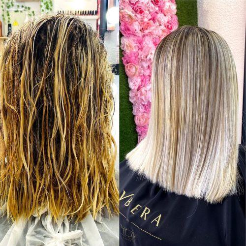 Antes y después de alisado