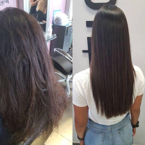 Joven pelo liso antes y después